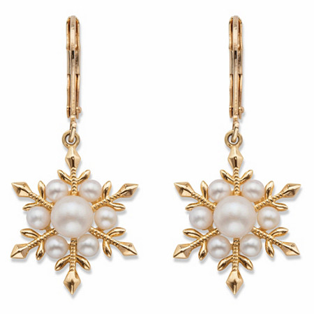 Simulated Pearl Snowflake Drop Earrings 14k Gold-Plated at PalmBeach Jewelry