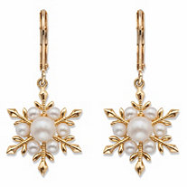 Simulated Pearl Snowflake Drop Earrings 14k Gold-Plated