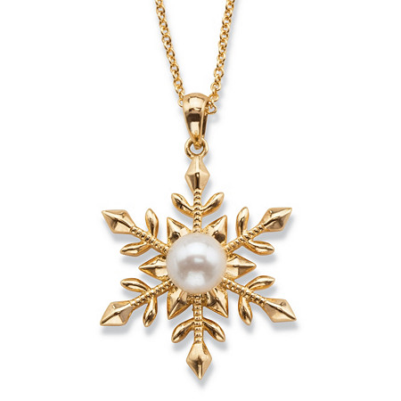 "Simulated Pearl Snowflake Pendant Necklace Set 14k Gold-Plated 18""-20"" at PalmBeach Jewelry"