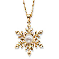 "Simulated Pearl Snowflake Pendant Necklace Set 14k Gold-Plated 18""-20"""