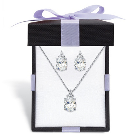 "Oval-Cut Cubic Zirconia 2-Piece Earrings and Pendant Necklace Set 13.22 TCW Platinum-Plated With FREE Gift Box 18""-20"" at PalmBeach Jewelry"
