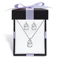 "Oval-Cut Cubic Zirconia 2-Piece Earrings and Pendant Necklace Set 13.22 TCW Platinum-Plated With FREE Gift Box 18""-20"""