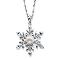 Simulated Pearl Snowflake Pendant Necklace in Silvertone 18