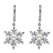 Simulated Pearl Snowflake Drop Earrings in Silvertone