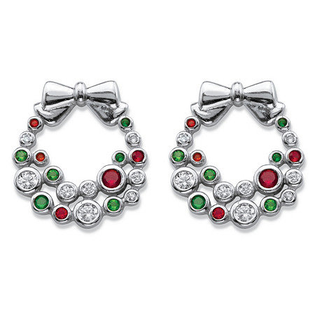 """Red, White and Green Cubic Zirconia and Crystal Holiday Wreath Earrings .42 TCW in Silvertone .25"""" at PalmBeach Jewelry"""