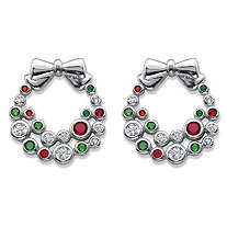 Red, White and Green Cubic Zirconia and Crystal Holiday Wreath Earrings .42 TCW in Silvertone .25