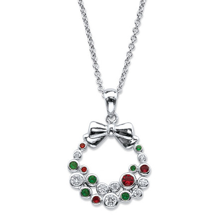Red, White and Green Cubic Zirconia and Crystal Holiday Wreath Pendant Necklace .22 TCW in Silvertone 18
