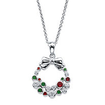 "Red, White and Green Cubic Zirconia and Crystal Holiday Wreath Pendant Necklace .22 TCW in Silvertone 18""-20"""
