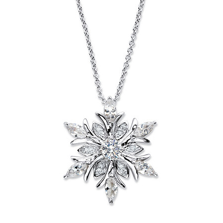 "Round Cubic Zirconia Snowflake Pendant Necklace 2.06 TCW in Silvertone 18""-20"" at PalmBeach Jewelry"