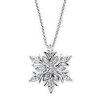 Round Cubic Zirconia Snowflake Pendant Necklace 2.06 TCW in Silvertone 18
