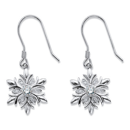 Cubic Zirconia Holiday Snowflake Drop Earrings .36 TCW in Silvertone at PalmBeach Jewelry