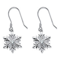 Cubic Zirconia Holiday Snowflake Drop Earrings .36 TCW in Silvertone