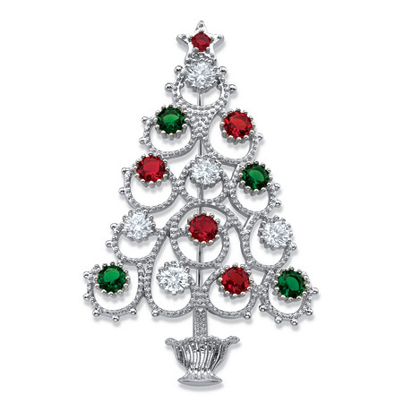 Red, Green and White Cubic Zirconia and Crystal Christmas Tree Pin 1.75 TCW in Silvertone 2 3/8