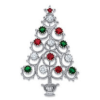 Red, Green and White Cubic Zirconia and Crystal Christmas Tree Pin 1.75 TCW in Silvertone 2 3/8""
