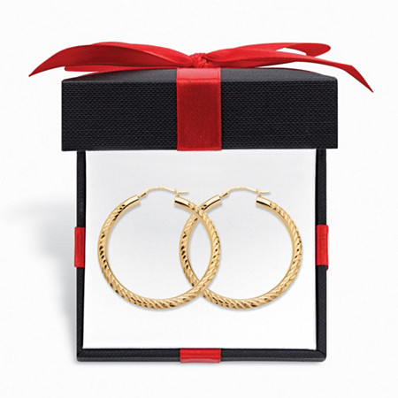 "Diamond-Cut 14k Gold Hoop Earrings Nano Diamond Resin Filled with FREE Gift Box 1.5"" at PalmBeach Jewelry"