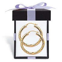 14k Yellow Gold Nano Diamond Resin Filled Diamond-Cut Hoop Earrings With FREE Gift Box 1.25""