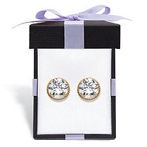 Round Martini-Set Cubic Zirconia Halo Stud Earrings 4 TCW in Solid 14k Yellow Gold With FREE Gift Box