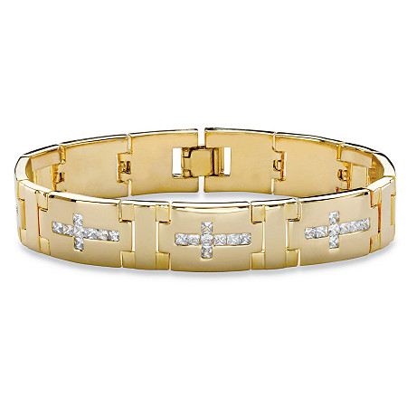 "Men's Square-Cut Cubic Zirconia Bar-Link Horizontal Cross Bracelet 3.60 TCW 14k Gold-Plated 8"" at PalmBeach Jewelry"
