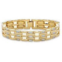 Men's Round Cubic Zirconia Bar-Link Bracelet 1.98 TCW 14k Gold-Plated 8""