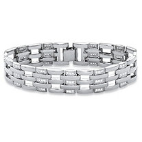 "Men's Round Cubic Zirconia Bar-Link Bracelet 1.98 TCW in Silvertone 8"""