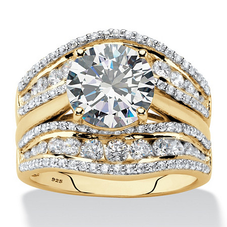 Round Cubic Zirconia 2-Piece Multi-Row Jacket Bridal Ring Set in 18k Gold over Sterling Silver (4.27 cttw) at PalmBeach Jewelry