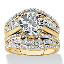 Round Cubic Zirconia 2-Piece Multi-Row Jacket Bridal Ring Set in 18k Gold over Sterling Silver (4.27 cttw)