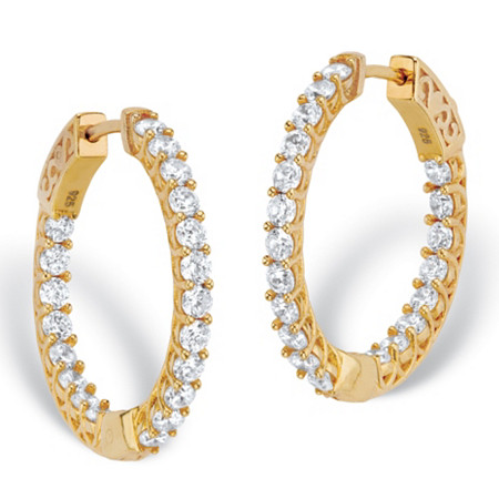 Round Cubic Zirconia Huggie-Hoop Earrings 2.40 TCW in 14k Gold over Sterling Silver (1