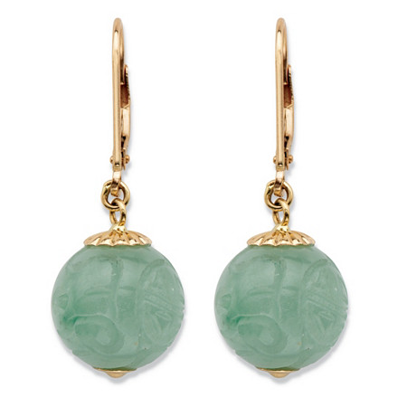 Genuine Green Jade Etched Bead Drop Earrings in Solid 10k Yellow Gold at PalmBeach Jewelry