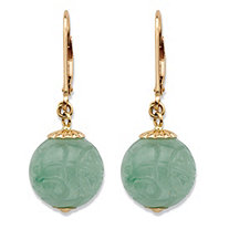 Genuine Green Jade Etched Bead Drop Earrings in Solid 10k Yellow Gold