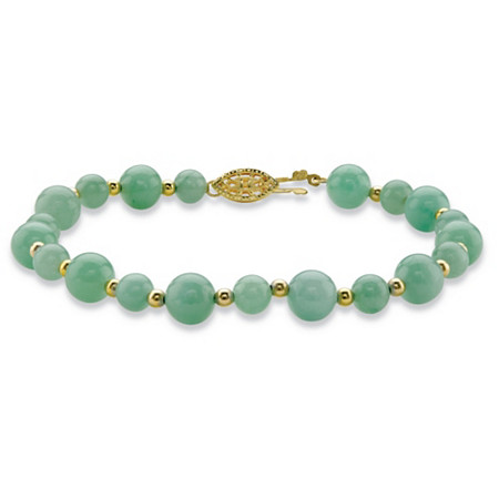 "Genuine Green Jade Beaded Bracelet in 14k Gold over Sterling Silver 8"" at PalmBeach Jewelry"