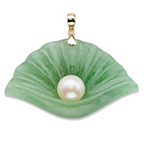Genuine Cultured Freshwater Pearl and Green Jade Shell Pendant in Solid 10k Yellow Gold