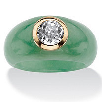Genuine Green Jade and White Topaz Accent Ring 1.55 TCW in Solid 10k Yellow Gold