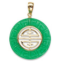 "Genuine Green Jade Round ""Longevity"" Pendant in Solid 10k Yellow Gold 3/4"""