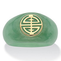"Genuine Green Jade ""Longevity"" Ring in Solid 10k Yellow Gold"