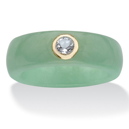 Genuine Green Jade and White Topaz .30 TCW in Solid 10k Yellow Gold Ring at PalmBeach Jewelry
