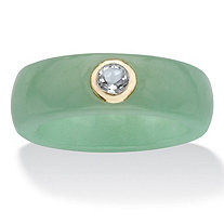 SETA JEWELRY Genuine Green Jade and White Topaz .30 TCW in Solid 10k Yellow Gold Ring