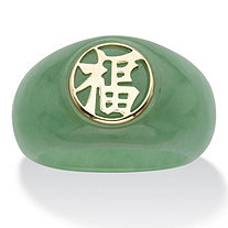 "Genuine Green Jade ""Fortune"" Ring in Solid 10k Yellow Gold"