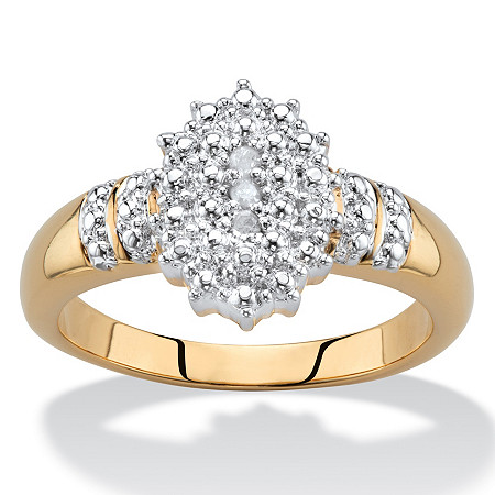 Pave Diamond Accent Two-Tone Cluster Ring 18k Gold-Plated at PalmBeach Jewelry