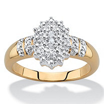 Pave Diamond Accent Two-Tone Cluster Ring 18k Gold-Plated