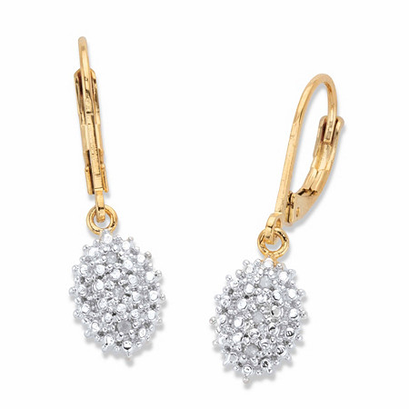 Pave Diamond Accent Cluster Drop Earrings 18k Gold-Plated at PalmBeach Jewelry