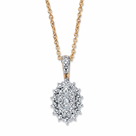 "Pave Diamond Accent Two-Tone Cluster Pendant Necklace 18k Gold-Plated 18""-20"" at PalmBeach Jewelry"