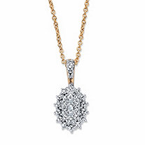 "Pave Diamond Accent Two-Tone Cluster Pendant Necklace 18k Gold-Plated 18""-20"""