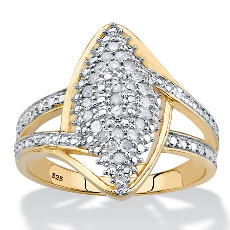 Round Diamond Split-Shank Cluster Ring 1/4 TCW in 14k Gold over Sterling Silver at PalmBeach Jewelry