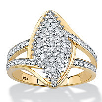 Round Diamond Split-Shank Cluster Ring 1/4 TCW in 14k Gold over Sterling Silver