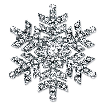 """Round Crystal Snowflake Pin in Silvertone 1.75"""" at PalmBeach Jewelry"""