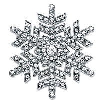 Round Crystal Snowflake Pin in Silvertone 1.75""