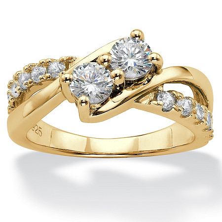 Round Cubic Zirconia 2-Stone Engagement Ring 1.20 TCW in 14k Gold over Sterling Silver at PalmBeach Jewelry