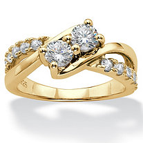 Round Cubic Zirconia 2-Stone Engagement Ring 1.20 TCW in 14k Gold over Sterling Silver