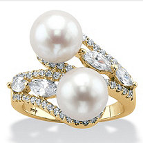 Genuine Cultured Freshwater Pearl and Cubic Zirconia Bypass Ring 1.62 TCW in 18k Gold over Sterling Silver