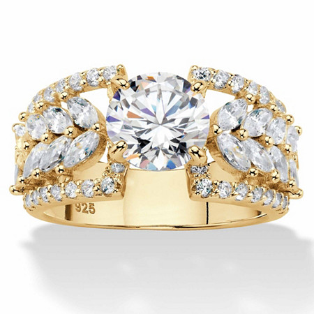 Round and Marquise Cubic Zirconia Engagement Ring 4.19 TCW in 14k Gold over Sterling Silver at PalmBeach Jewelry